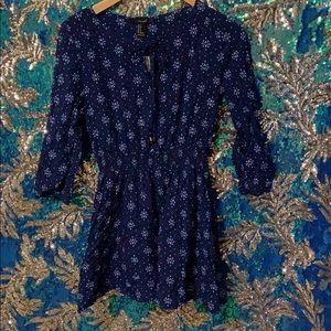Forever 21 Blue Sleeved Boho Dress